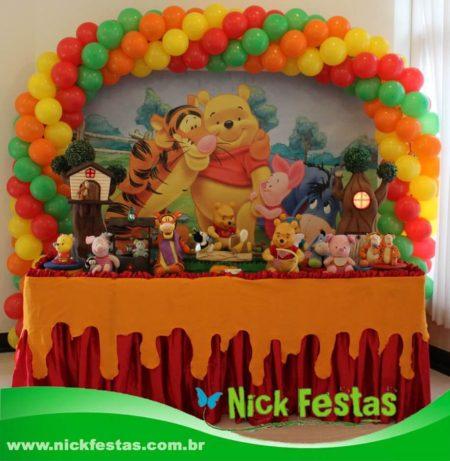 Mesa decorada ursinho pooh nick festas