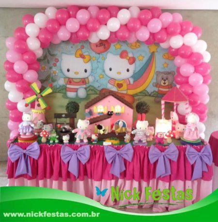 Mesa decorada hello kitty nick festas
