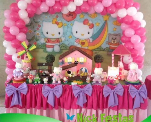 Mesa decorada hello kitty nick festas